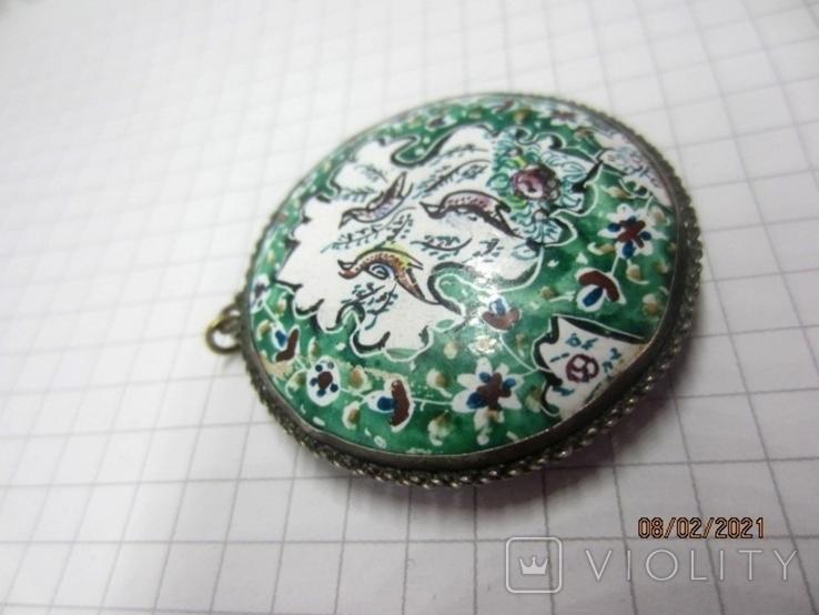 Кулон медь серебро эмаль царская, фото №6