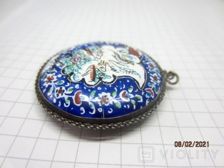 Кулон медь серебро эмаль царская, фото №7