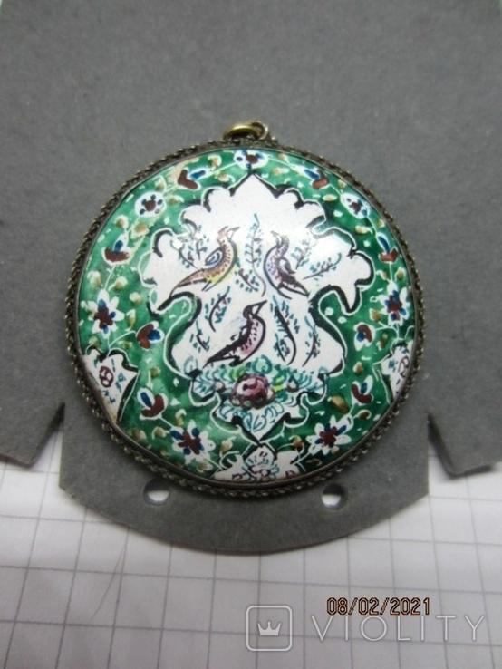 Кулон медь серебро эмаль царская, фото №8