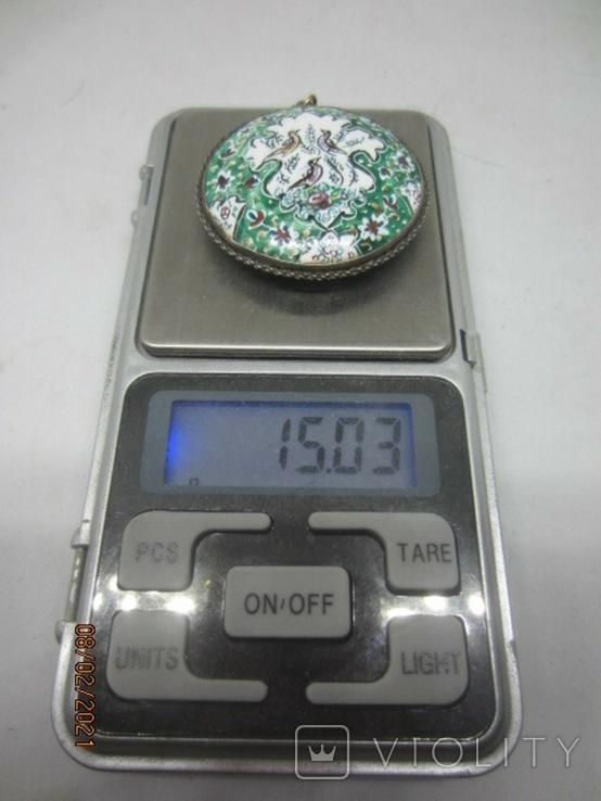 Кулон медь серебро эмаль царская, фото №9