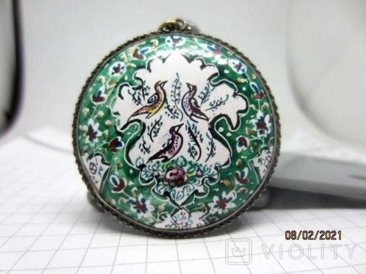 Кулон медь серебро эмаль царская, фото №2