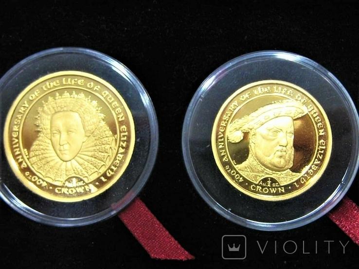 Набор золотых монет о-в Мэн 2003 г.  Золотой Век., фото №7