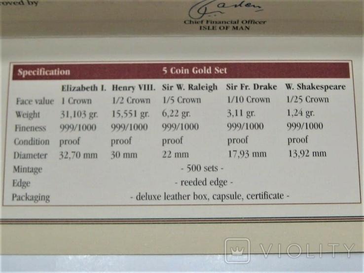 Набор золотых монет о-в Мэн 2003 г.  Золотой Век., фото №11