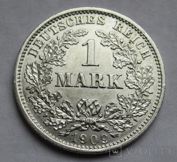 1 марка 1909 г. (D), Германия, серебро, фото №2