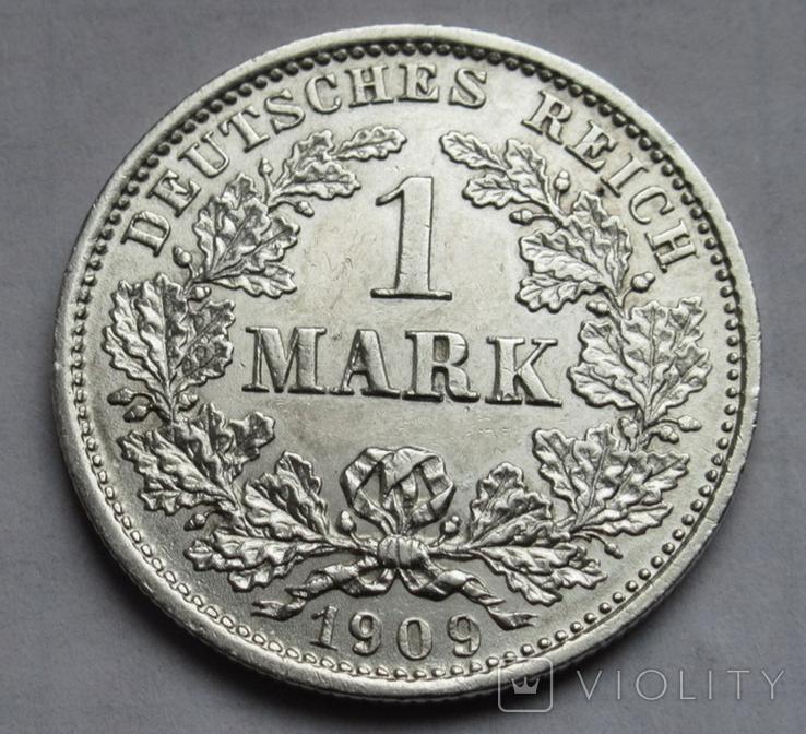 1 марка 1909 г. (D), Германия, серебро, фото №5