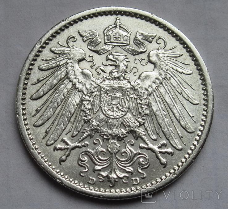 1 марка 1909 г. (D), Германия, серебро, фото №7