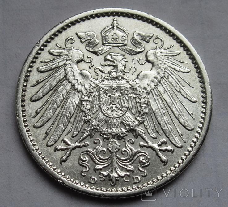 1 марка 1909 г. (D), Германия, серебро, фото №9