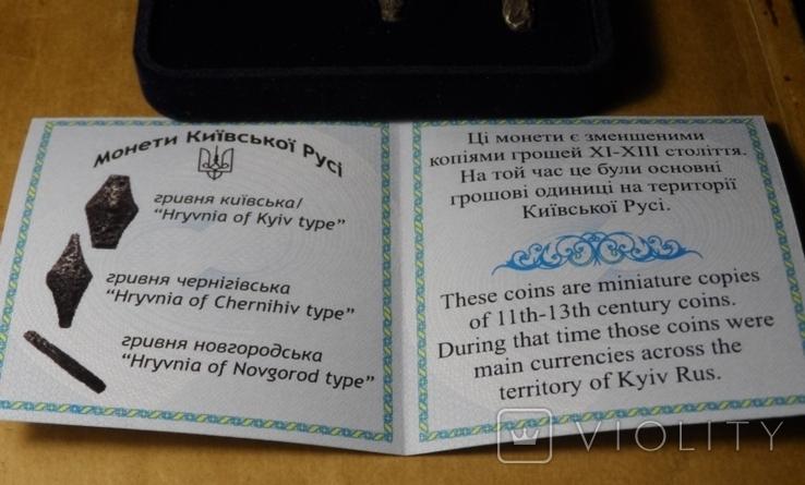 Набор монет серебро гривня київська чернігівська новгородська футляр 2020 тип 1 копия, фото №5