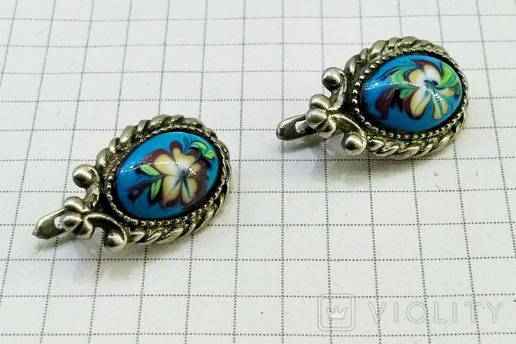 Серьги мельхиор, эмаль, керамика. СССР, фото №3
