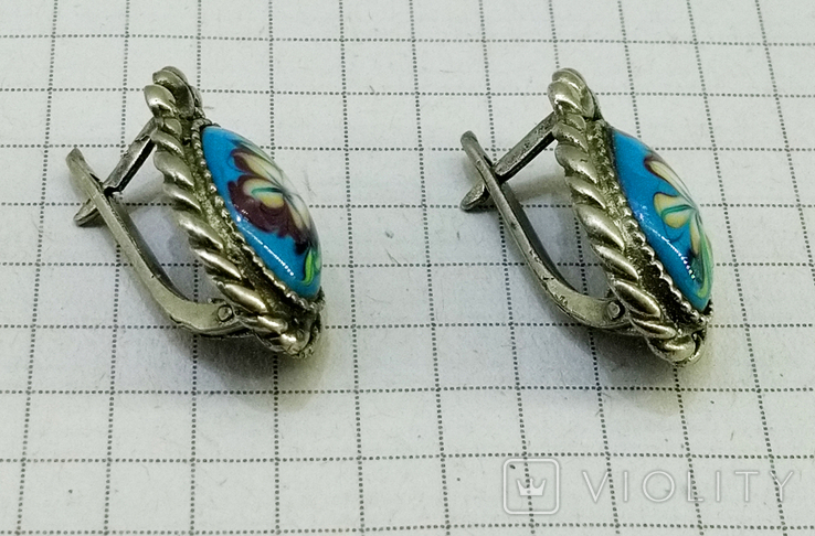 Серьги мельхиор, эмаль, керамика. СССР, фото №5