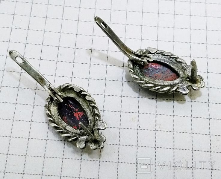 Серьги мельхиор, эмаль, керамика. СССР, фото №8