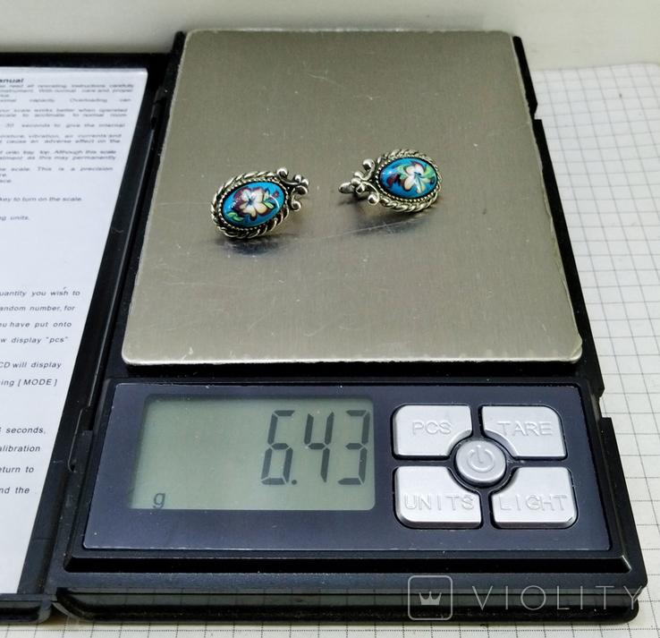 Серьги мельхиор, эмаль, керамика. СССР, фото №10