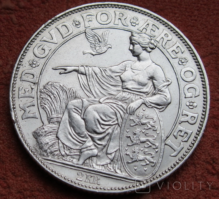 2 кроны 1903 г. Дания, серебро, фото №3