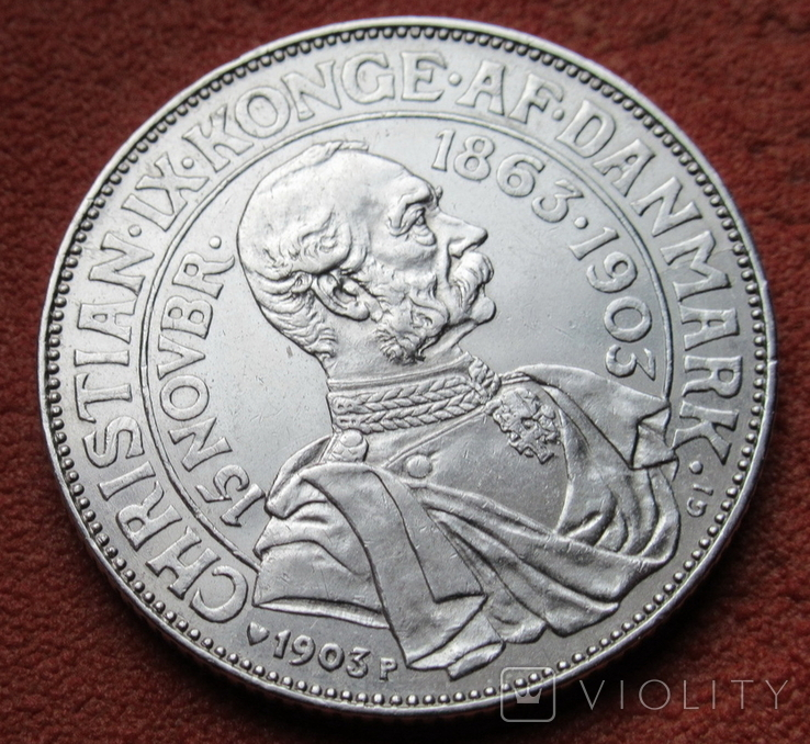2 кроны 1903 г. Дания, серебро, фото №7