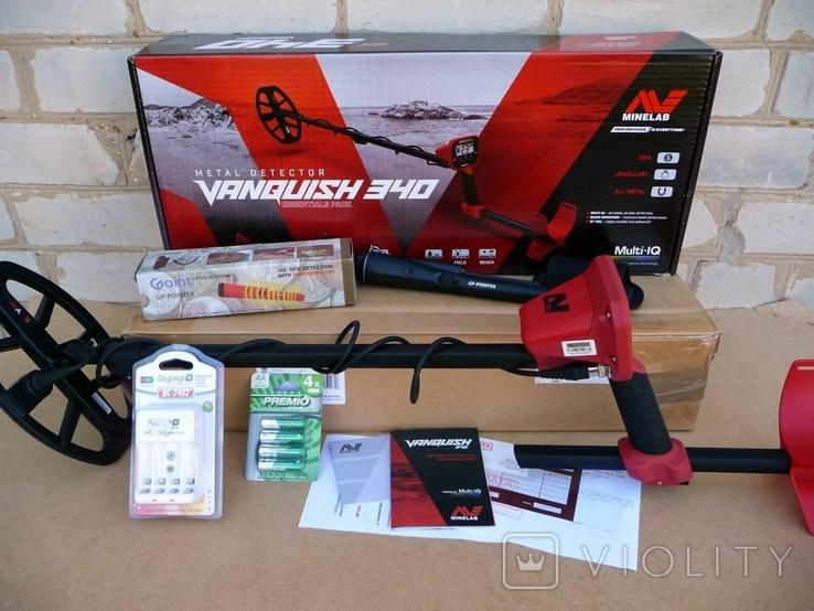 Металлоискатель Minelab Vanquish 340 + Пинпоинтер + АКБ 8 шт.+зарядное, фото №2