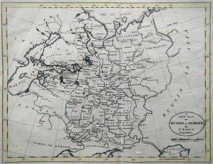 1782 Украина, Россия в Европе J.Bayley (карта 32х25 Верже) СерияАнтик