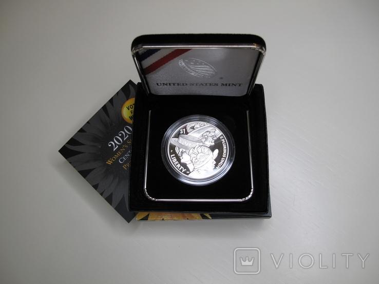 """1 доллар США (серебро): """"Суфражистки"""" (2020 г.), фото №3"""