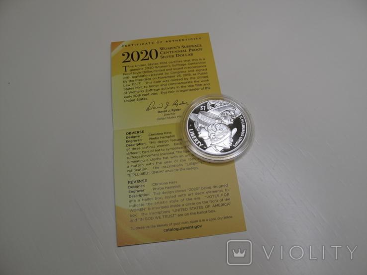 """1 доллар США (серебро): """"Суфражистки"""" (2020 г.), фото №7"""