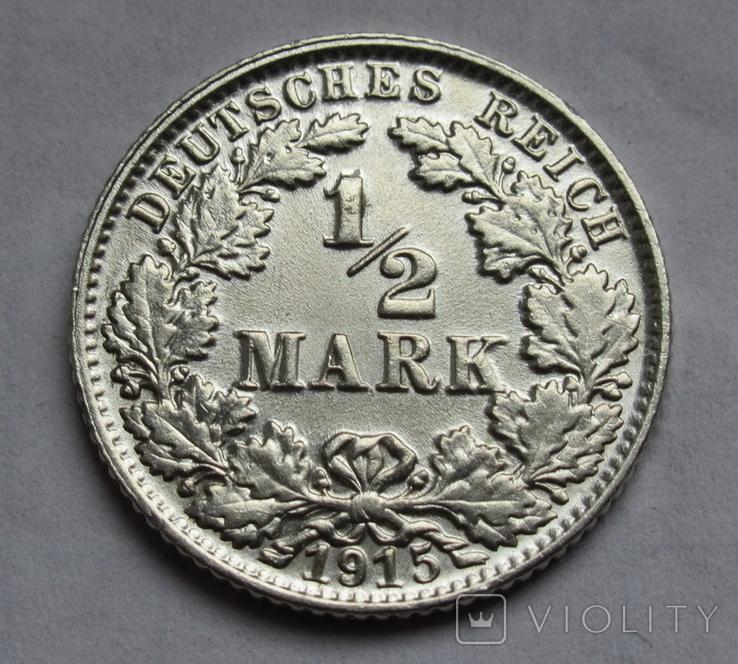1/2 марки 1915 г. (Е) Германия, серебро, фото №2
