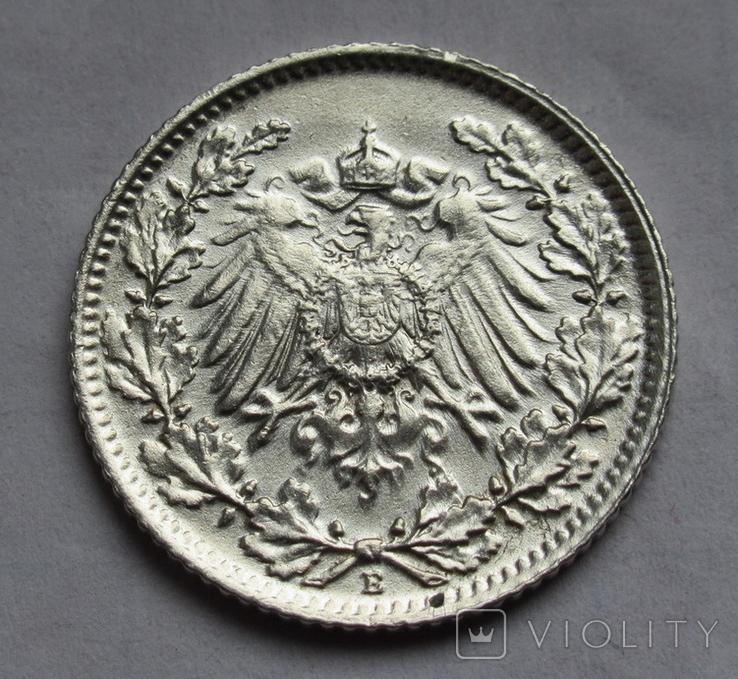 1/2 марки 1915 г. (Е) Германия, серебро, фото №4