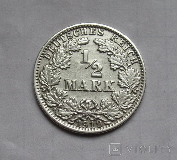 1/2 марки 1919 г. (А) Германия, серебро, фото №2