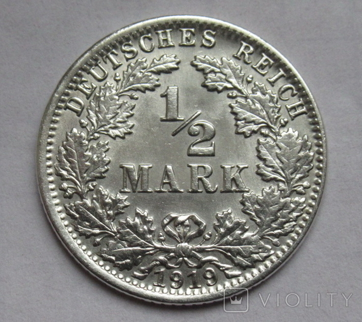 1/2 марки 1919 г. (J) Германия, серебро, фото №2