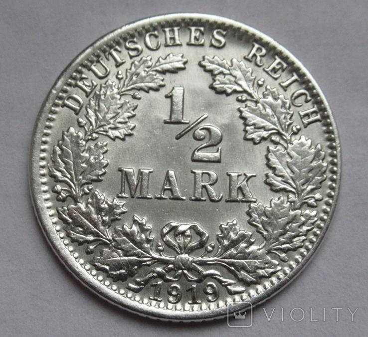 1/2 марки 1919 г. (J) Германия, серебро, фото №5
