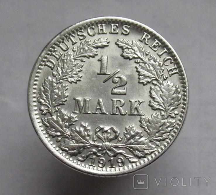 1/2 марки 1919 г. (J) Германия, серебро, фото №7