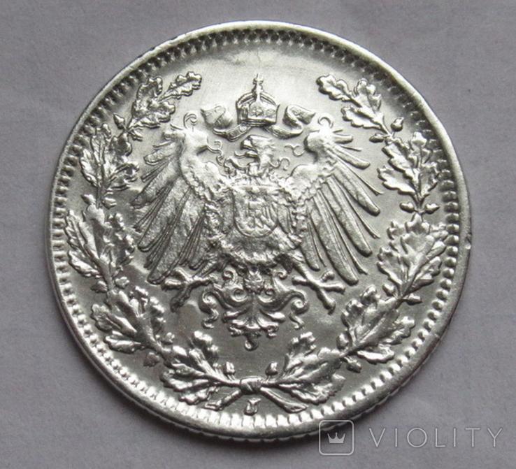 1/2 марки 1919 г. (J) Германия, серебро, фото №8