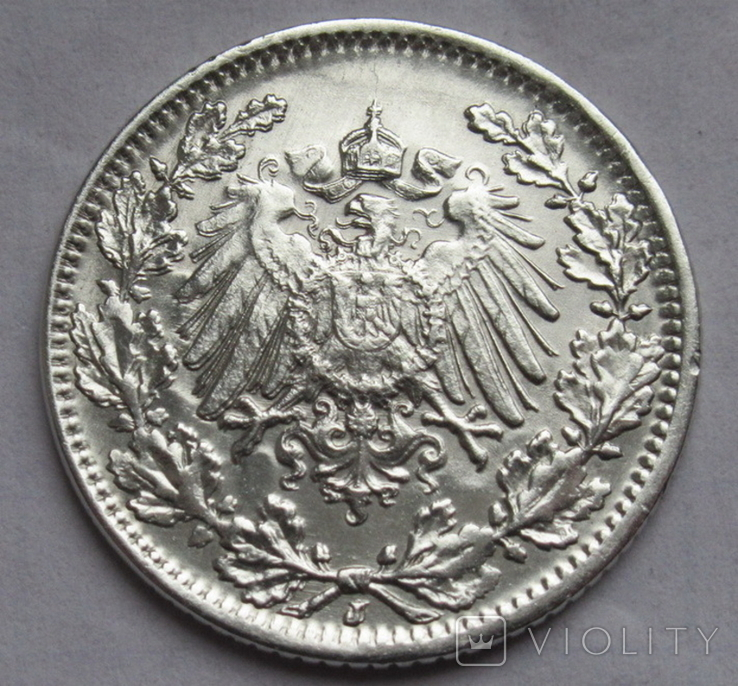 1/2 марки 1919 г. (J) Германия, серебро, фото №12