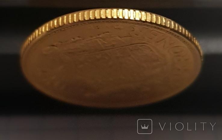 20 крон 1916 год ДАНИЯ золото 8,96 грамм 900`, фото №5