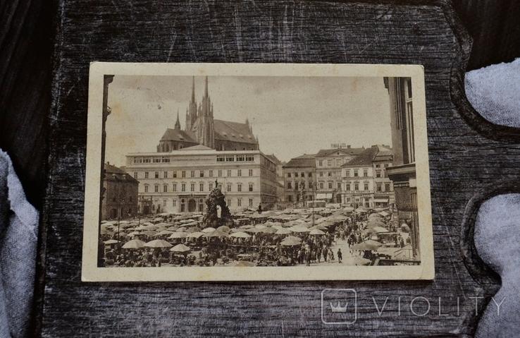 Старинная фотооткрытка: BRNO - ZELNÝ TRH A MUZEUM. 1930 год., фото №3