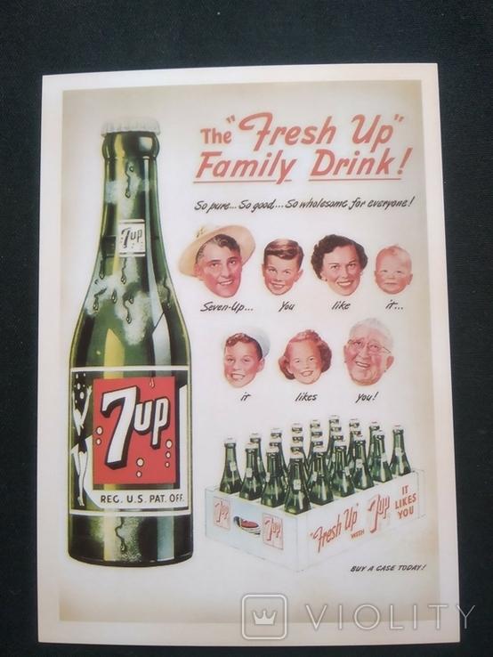 """Открытка в винтажном стиле """"7 UP"""", фото №2"""