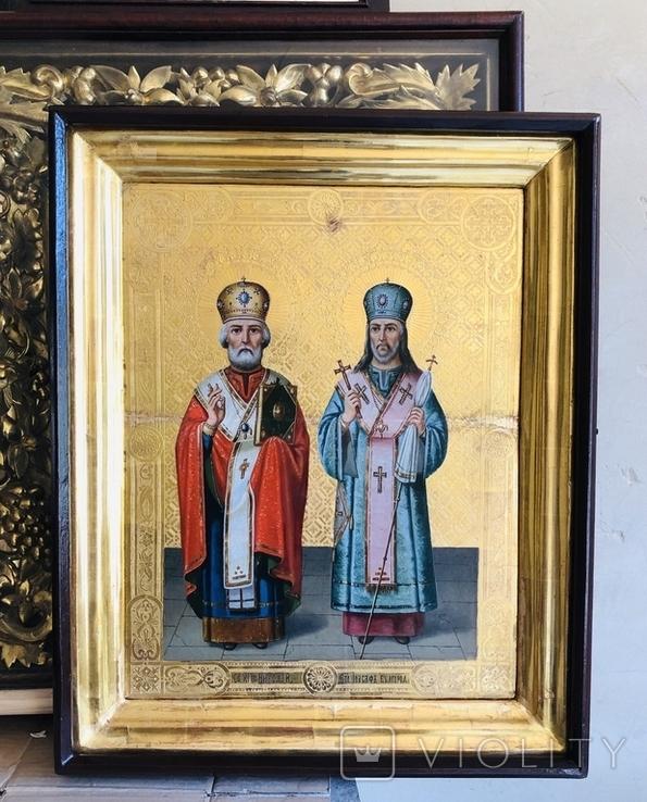 Икона на золоте Св. Николай и Св. Иоасаф Белгородский, фото №2