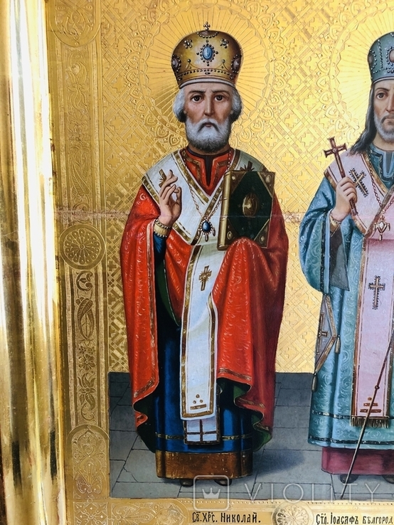 Икона на золоте Св. Николай и Св. Иоасаф Белгородский, фото №4