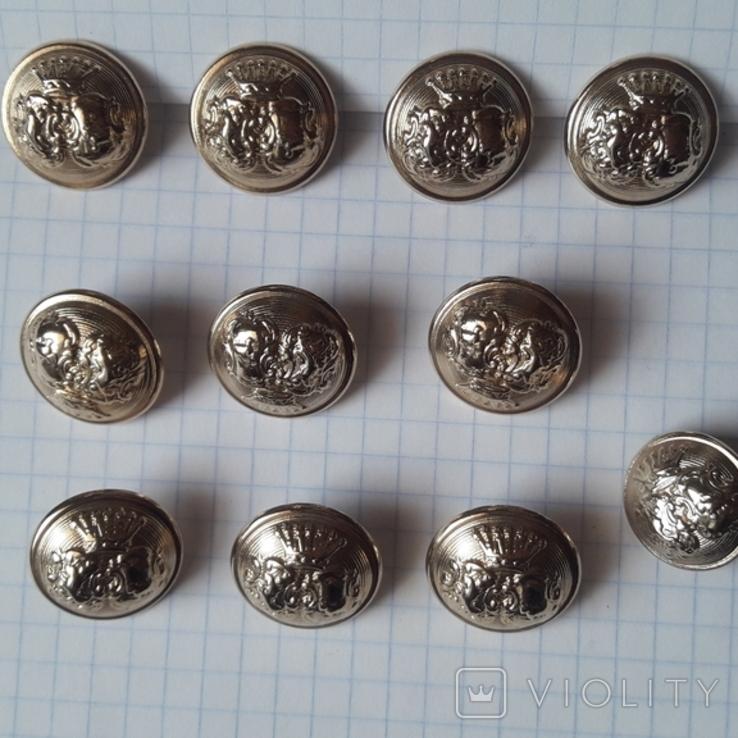 Комплект металлических пуговиц с фрака герб корона. Франция. 10 + 1 шт., фото №2