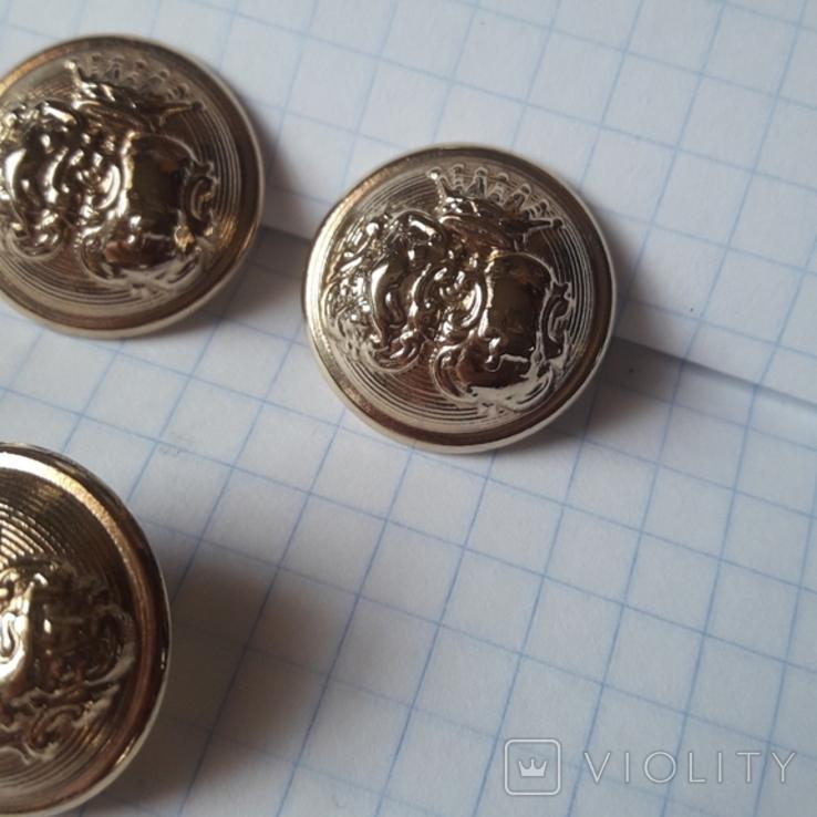 Комплект металлических пуговиц с фрака герб корона. Франция. 10 + 1 шт., фото №7
