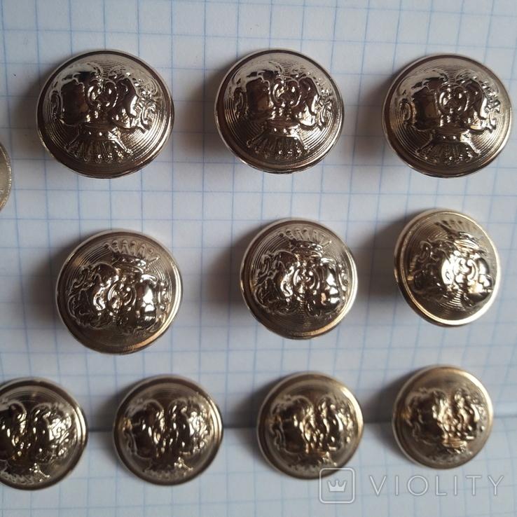 Комплект металлических пуговиц с фрака герб корона. Франция. 10 + 1 шт., фото №8