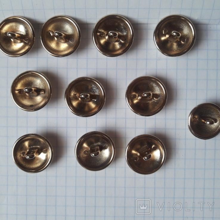 Комплект металлических пуговиц с фрака герб корона. Франция. 10 + 1 шт., фото №9