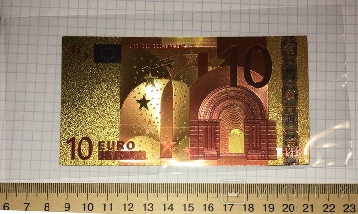 Позолоченная сувенирная банкнота 10 Euro (24K) в защитном файле / сувенір, фото №2