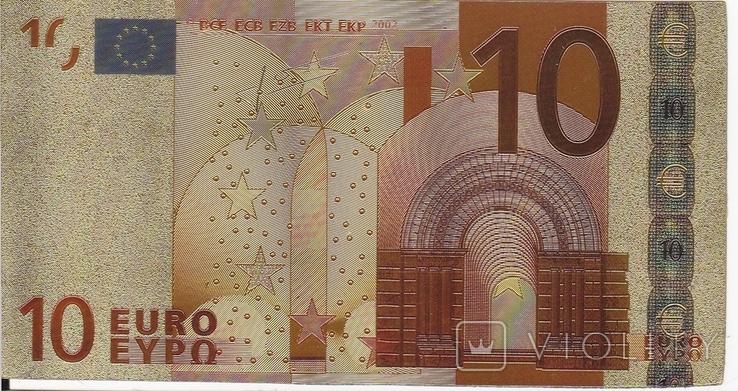 Позолоченная сувенирная банкнота 10 Euro (24K) в защитном файле / сувенір, фото №7