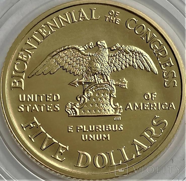5 доларів 1989 року, Bicentennial of the congress, 200-ліття Конгресу США, фото №3