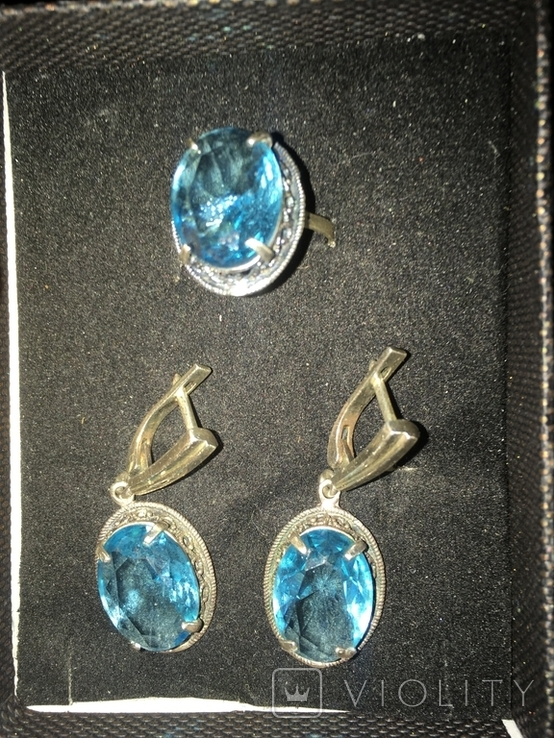Серьги и кольцо 925, фото №2