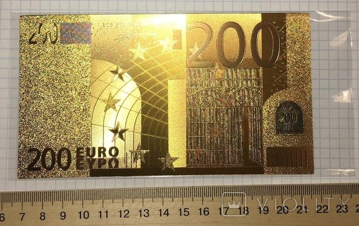 Позолоченная сувенирная банкнота 200 Euro (24K) в защитном файле / сувенірна банкнота, фото №2