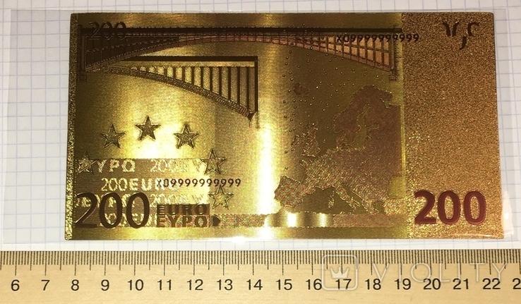 Позолоченная сувенирная банкнота 200 Euro (24K) в защитном файле / сувенірна банкнота, фото №5