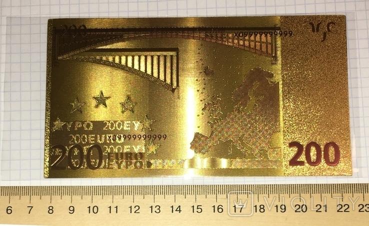 Позолоченная сувенирная банкнота 200 Euro (24K) в защитном файле / сувенірна банкнота, фото №6