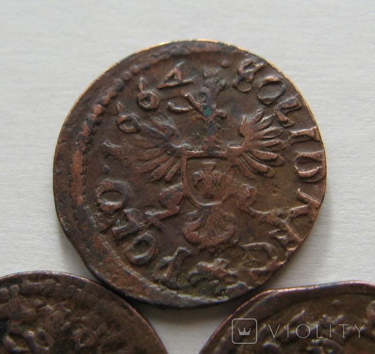 4. Солиды. Боратинки 1664 года. Ян ІІ Казимир Ваза ( 3 штуки )., фото №5
