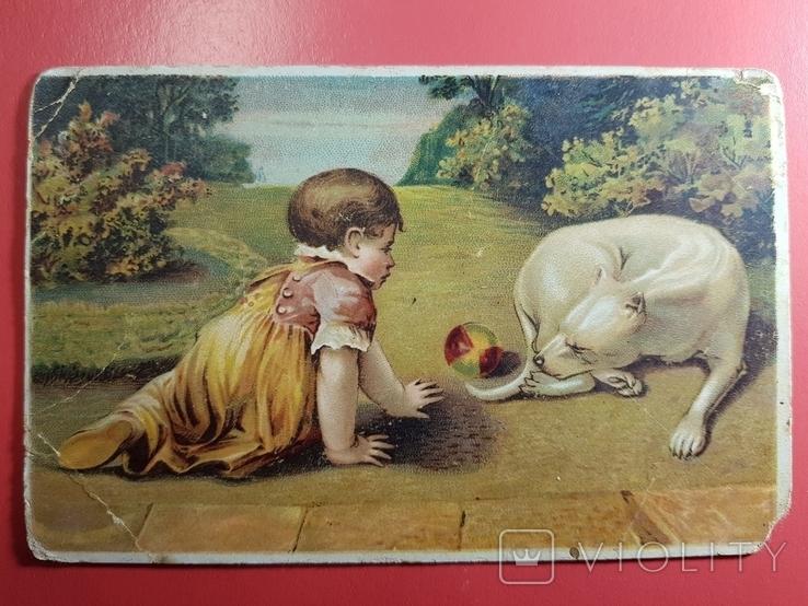 Открытка. Ребенок и собака., фото №2