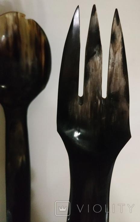Столовый прибор ложка и вилка из кости., фото №4
