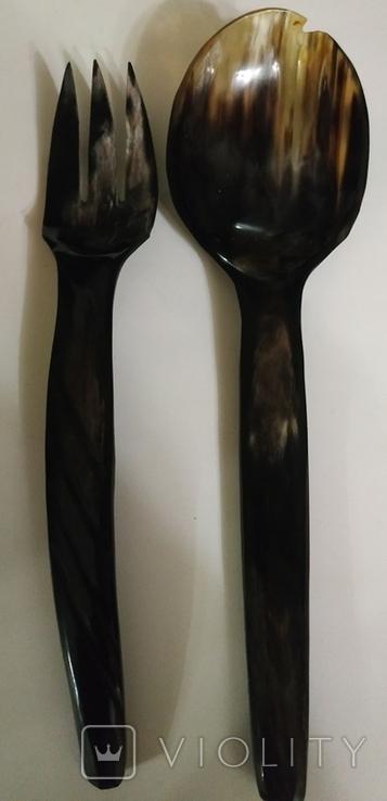 Столовый прибор ложка и вилка из кости., фото №9